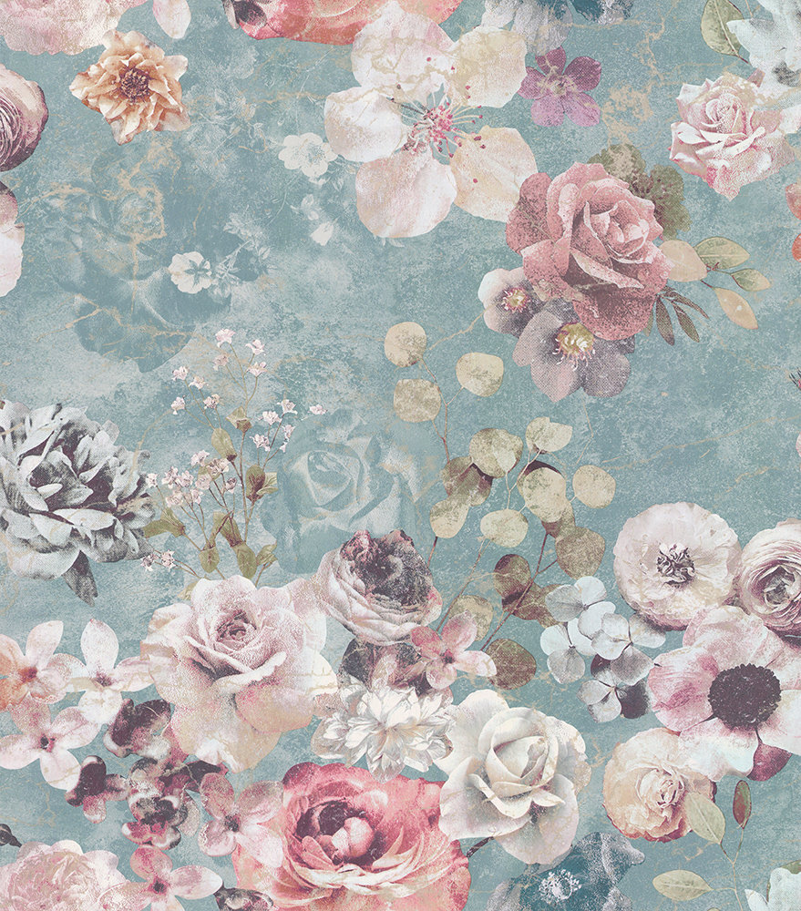 Jane Churchill Marble Rose Aqua Wallpaper main image