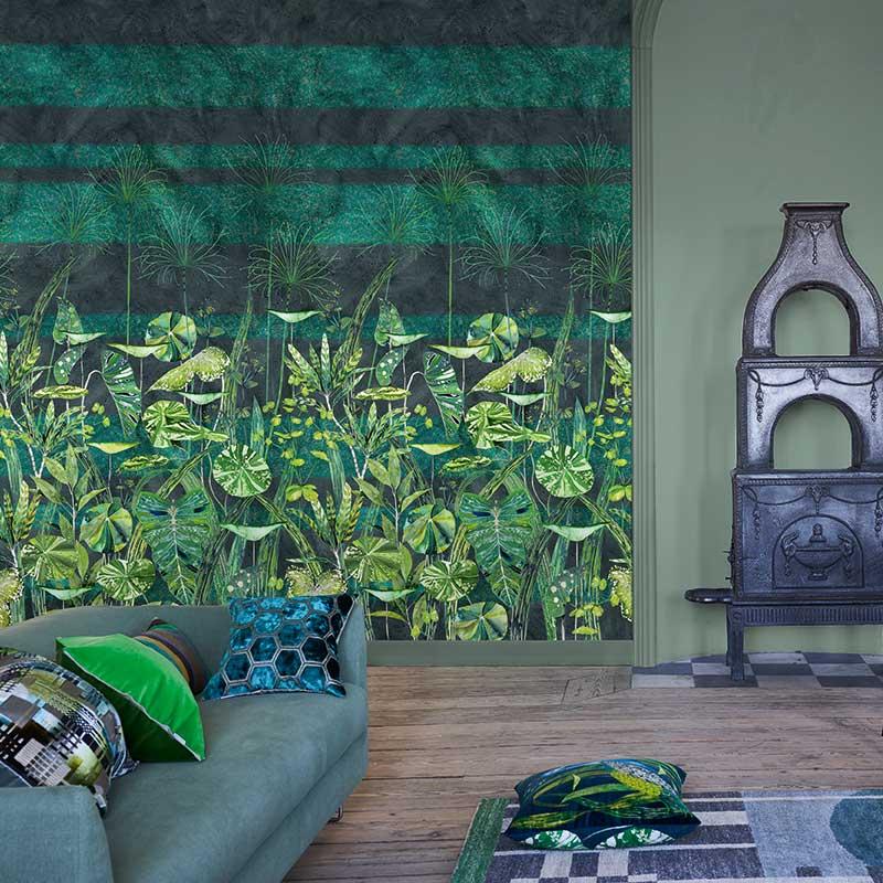 Arjuna Leaf Mural - Viridian - by Designers Guild