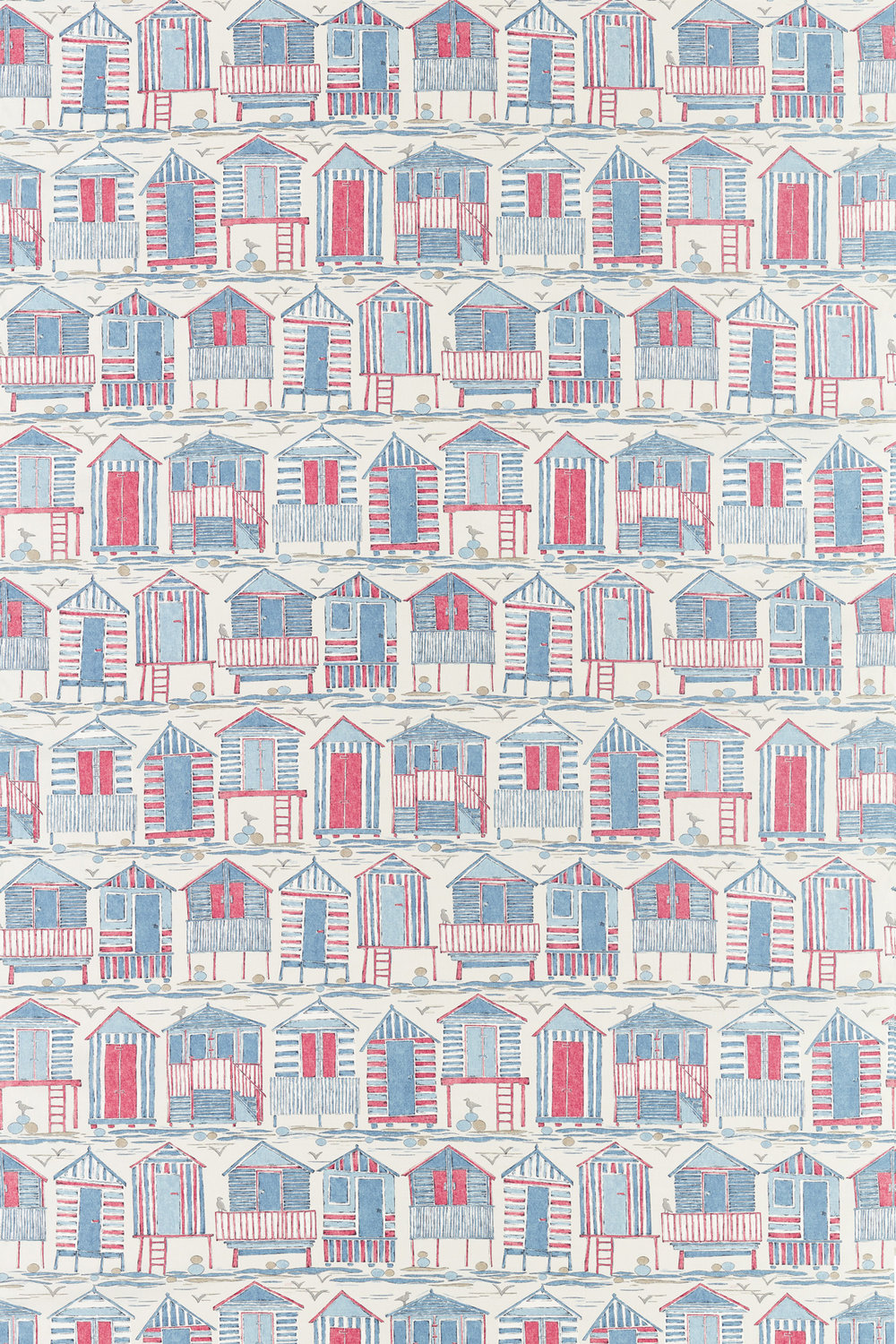 Sanderson Beach Huts Nautical Fabric main image