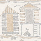 Sanderson Beach Huts Driftwood Fabric - Product code: 226491
