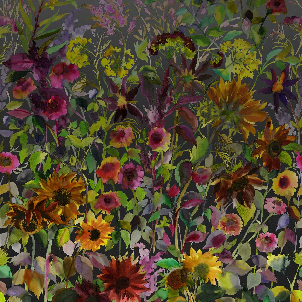 Indian Sunflower Mural - Graphite - by Designers Guild