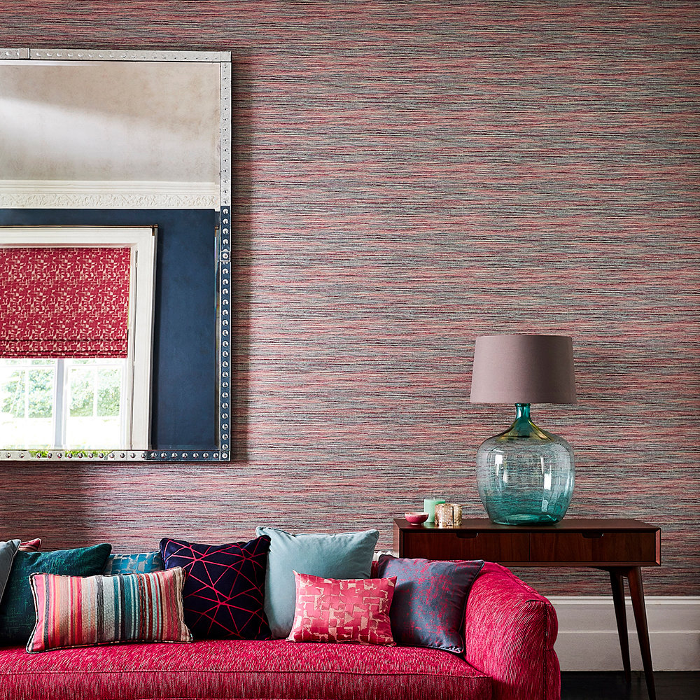 Affinity Wallpaper - Cerise / Teal - by Harlequin