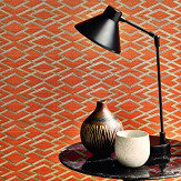 Jane Churchill Geometric Silk Copper Wallpaper - Product code: J8001-04