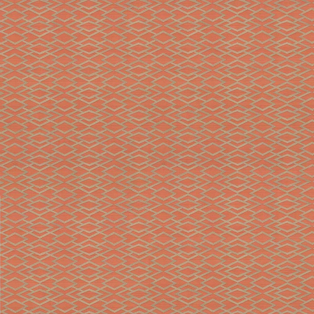 Geometric Silk Wallpaper - Copper - by Jane Churchill