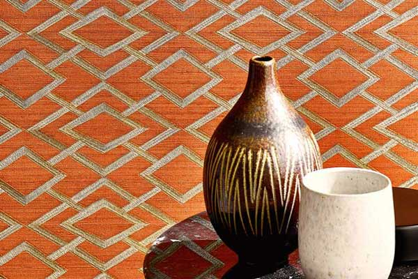 Jane Churchill Geometric Silk Copper Wallpaper