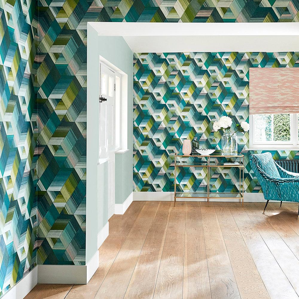 Arccos Wallpaper - Emerald / Blush - by Harlequin