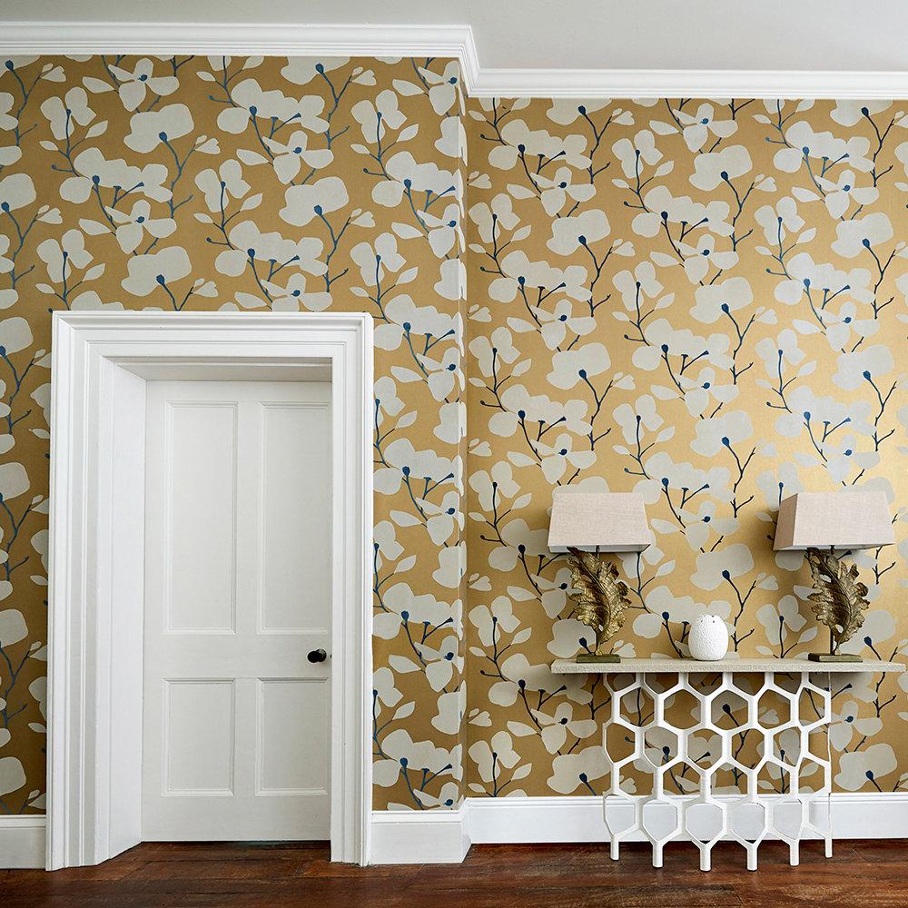 Kienze Wallpaper - Antique Gold / Ink - by Harlequin