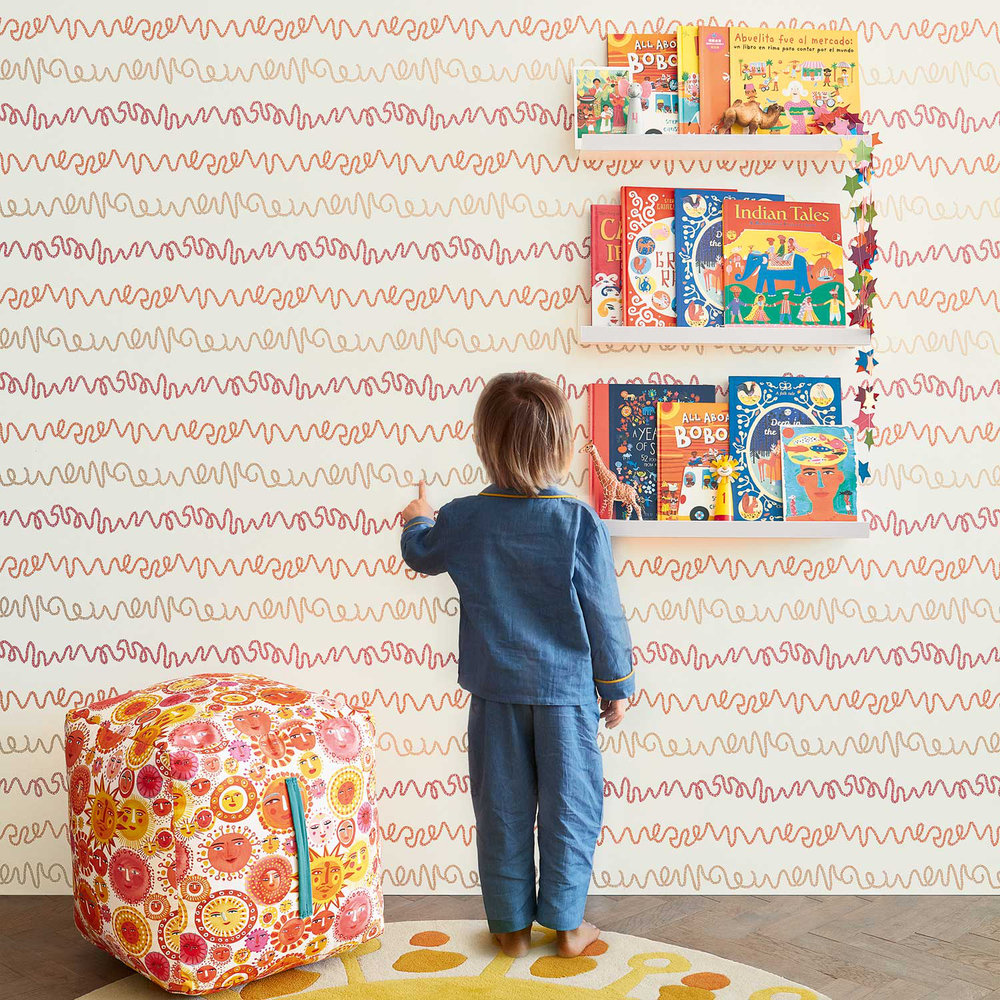 Wiggles Wallpaper - Pink - by Villa Nova