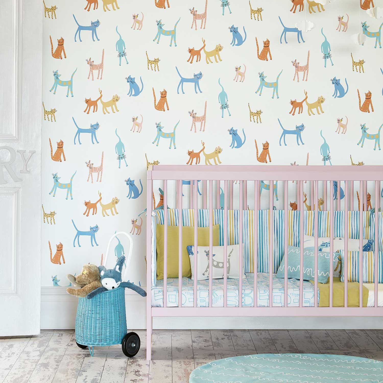 Pretty Kitty Wallpaper - Multi-coloured - by Villa Nova