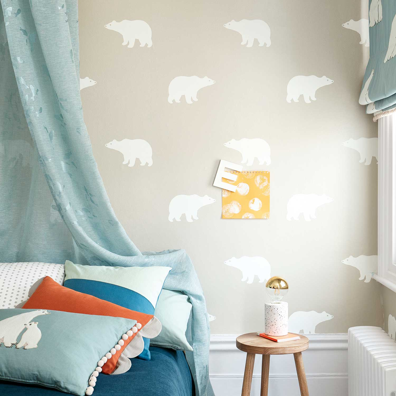 Arctic Bear Wallpaper - Taupe - by Villa Nova