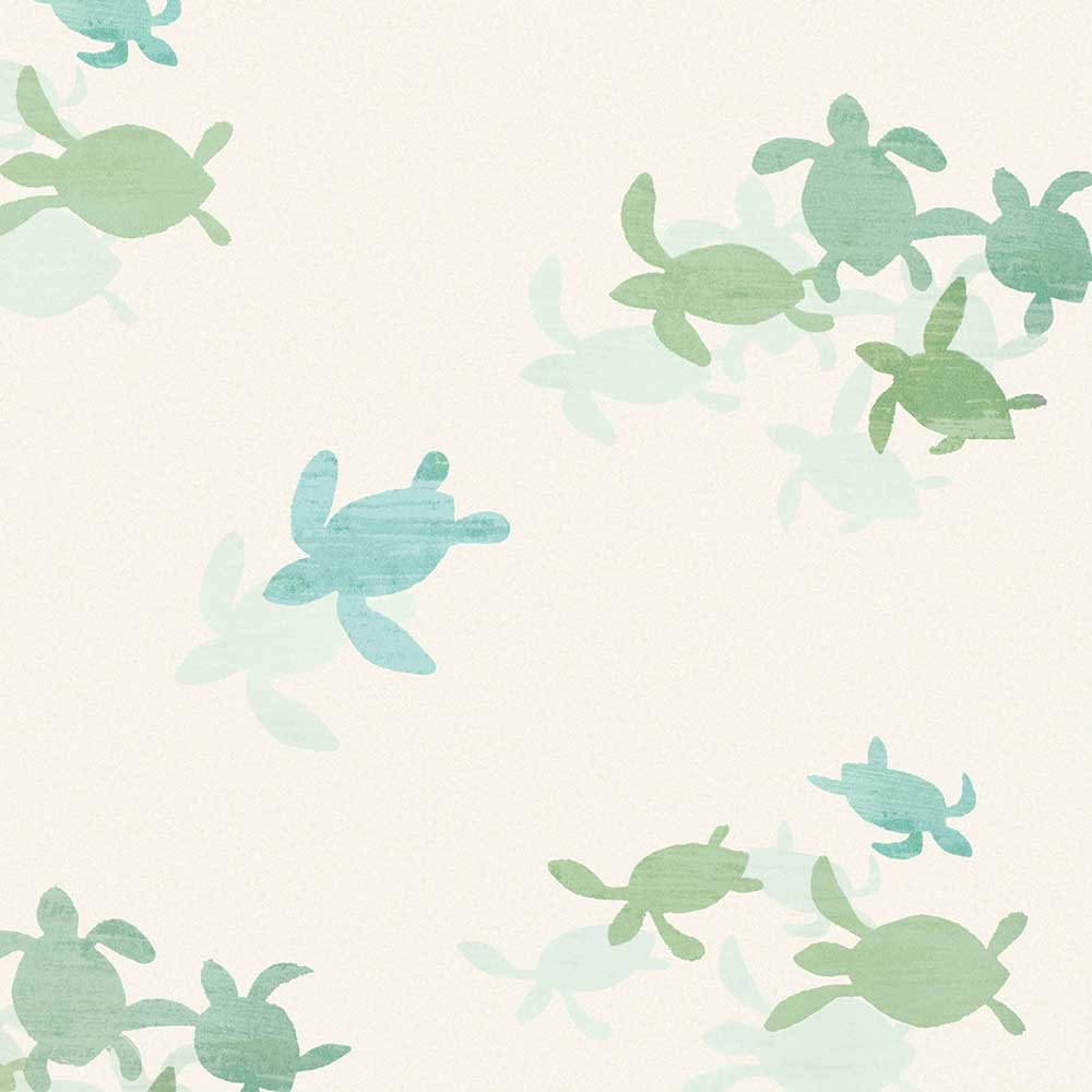 Tiny Turtles Wallpaper - Blue / Green - by Villa Nova