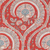 Nina Campbell Les Indiennes Red and Teal Wallpaper