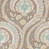 Nina Campbell Les Indiennes Taupe and Aqua Wallpaper