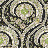 Nina Campbell Les Indiennes Black and Green Wallpaper