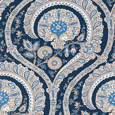 Nina Campbell Les Indiennes Blue Wallpaper