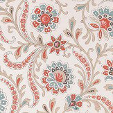 Nina Campbell Baville  Red/ Teale and Taupe  Wallpaper