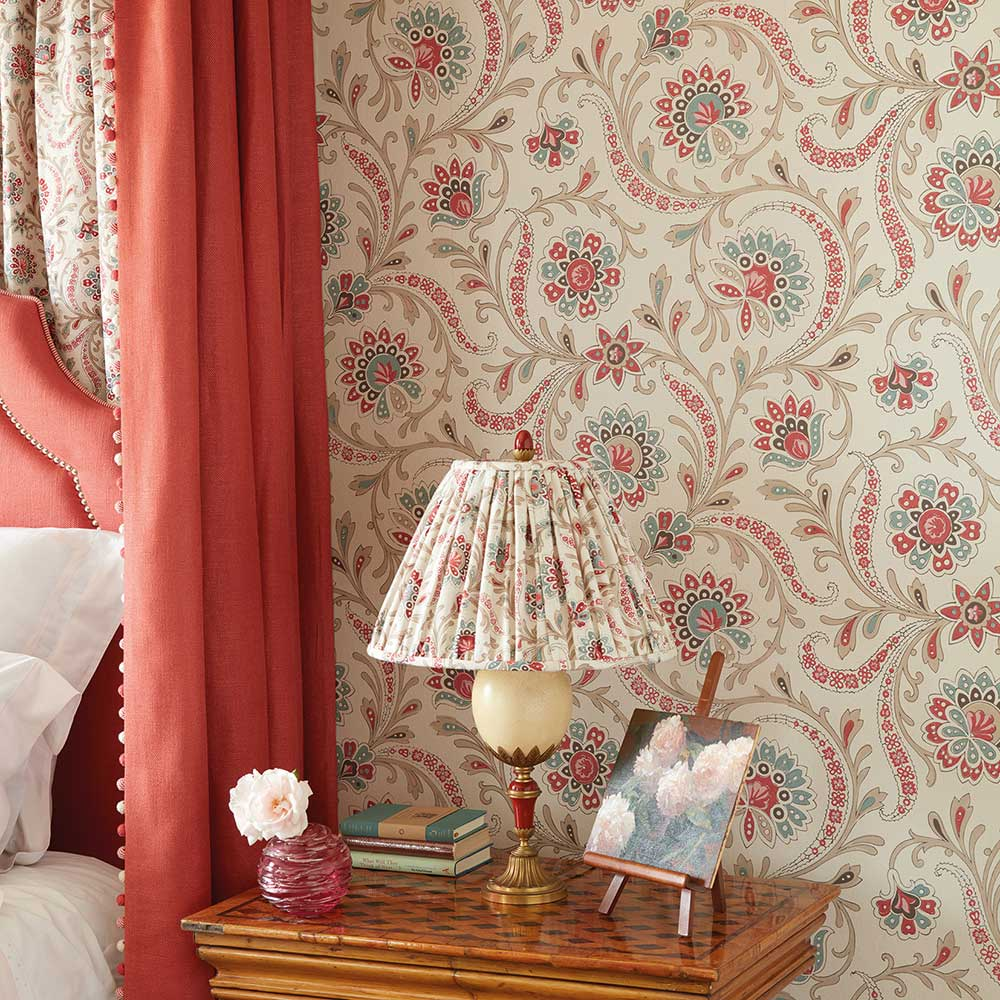 Nina Campbell Baville  Red/ Teale and Taupe  Wallpaper - Product code: NCW4351-01