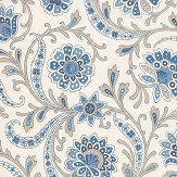 Nina Campbell Baville Blue/ Taupe Wallpaper