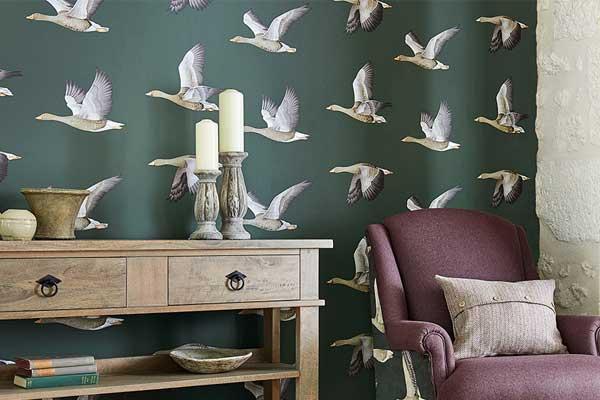 Sanderson Elysian Geese Amsterdam Green Wallpaper