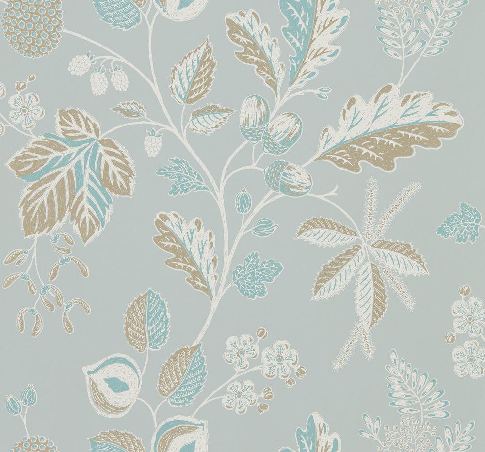 Sanderson Warwick Blue Grey Wallpaper main image