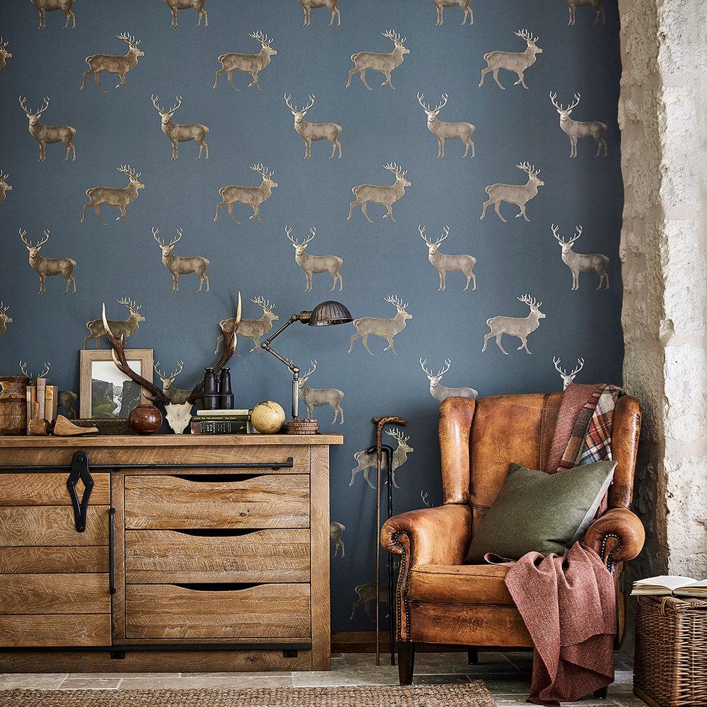 Evesham Deer By Sanderson Indigo Wallpaper Wallpaper