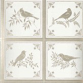 Nina Campbell Fortoiseau Ivory/ Silver Wallpaper
