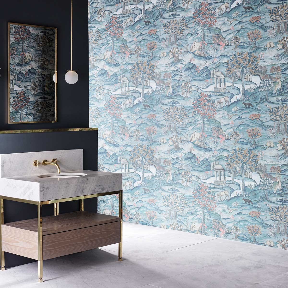 Zoffany Stand Wood Teal / Velvet Blue Mural - Product code: 312855