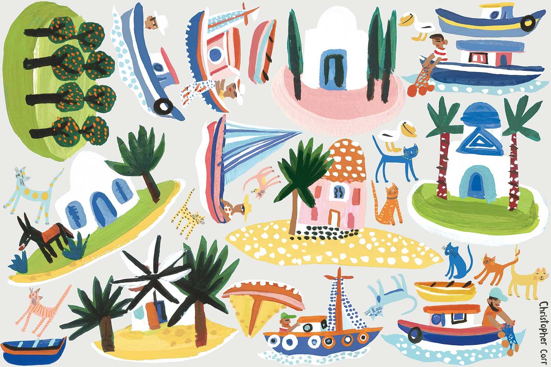 Island Hopping Wall Stickers - Multi-coloured - by Villa Nova