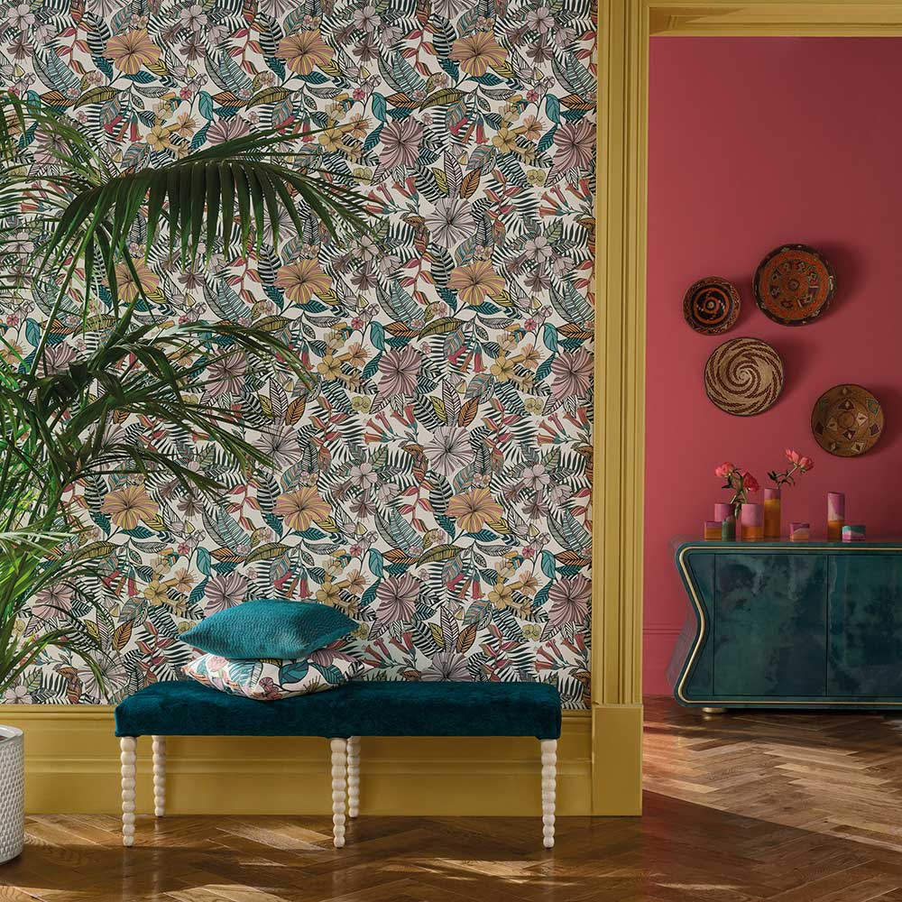 Matthew Williamson Valldemossa Cerise/ Coral  Wallpaper - Product code: W7260-01