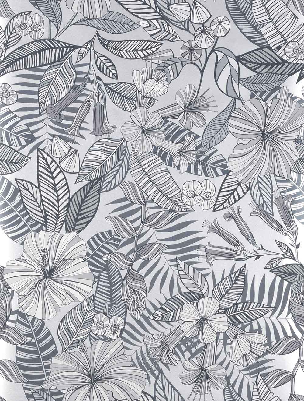 Matthew Williamson Valldemossa Black/ White/ Silver Wallpaper - Product code: W7260-05