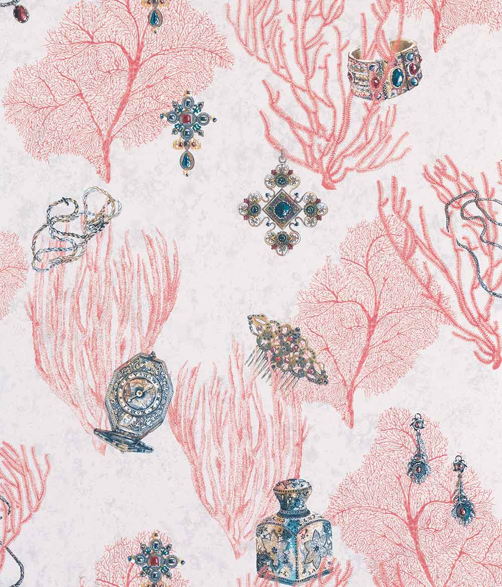Matthew Williamson Coralino Coral/ Amethyst/ Gold Wallpaper main image