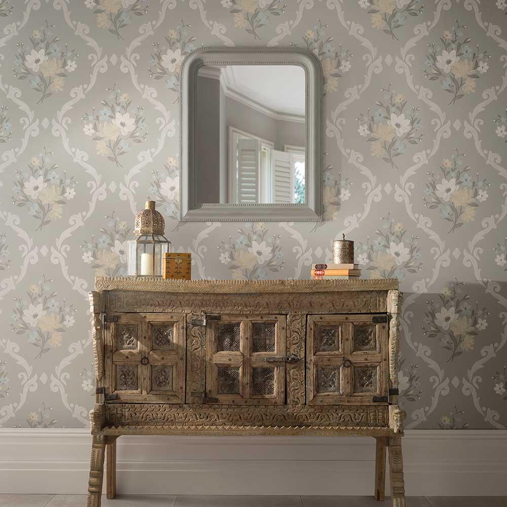 Matthew Williamson Almudaina Grey/ Pale lemon/ Ice Wallpaper - Product code: W7264-01