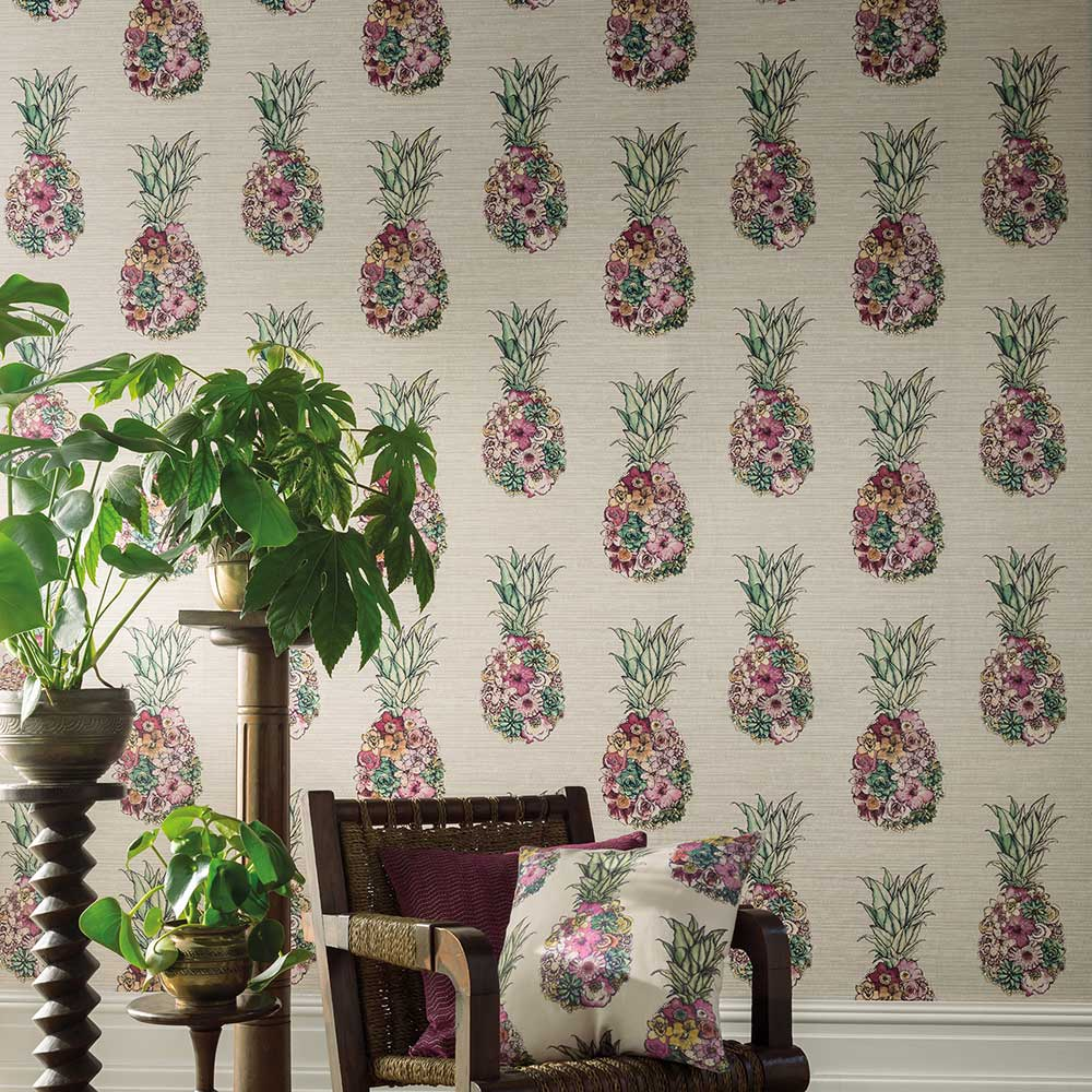 Ananas Wallpaper - Cerise/ Lemon/ Mint - by Matthew Williamson