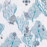 Matthew Williamson Coralino Persian Blue/ Silver Wallpaper