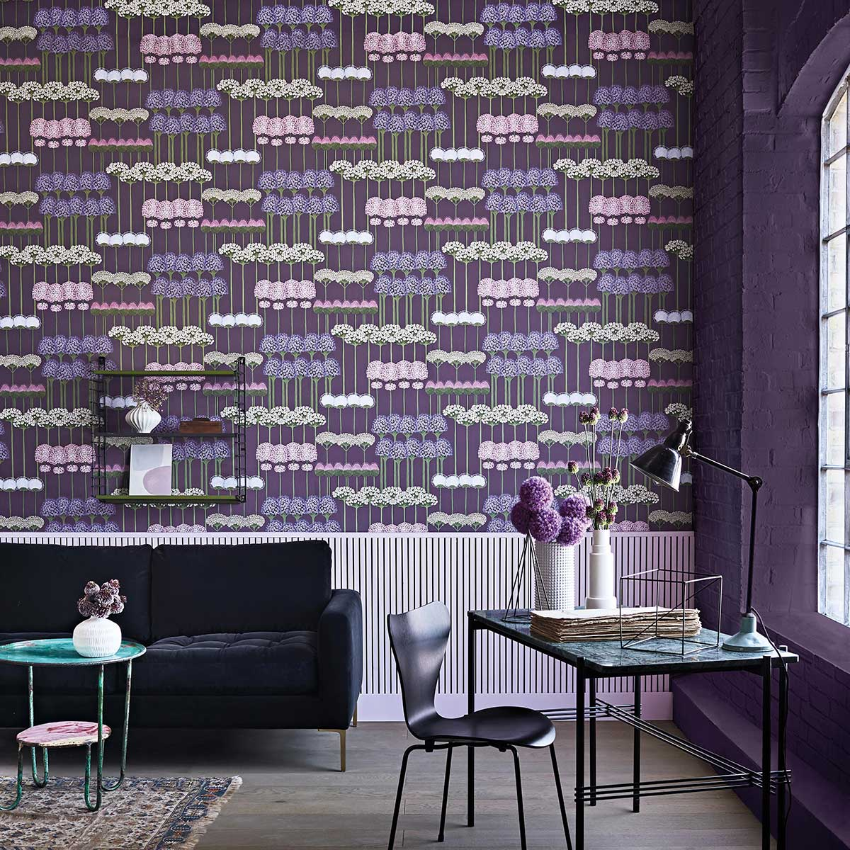 Allium Wallpaper - Mulberry / Heather / Violet - by Cole & Son