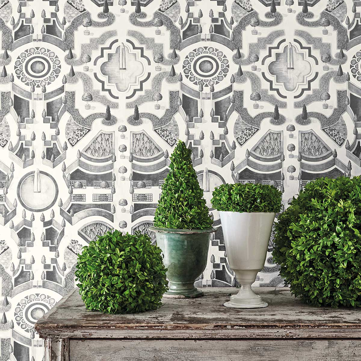 Topiary Wallpaper - Soot - by Cole & Son