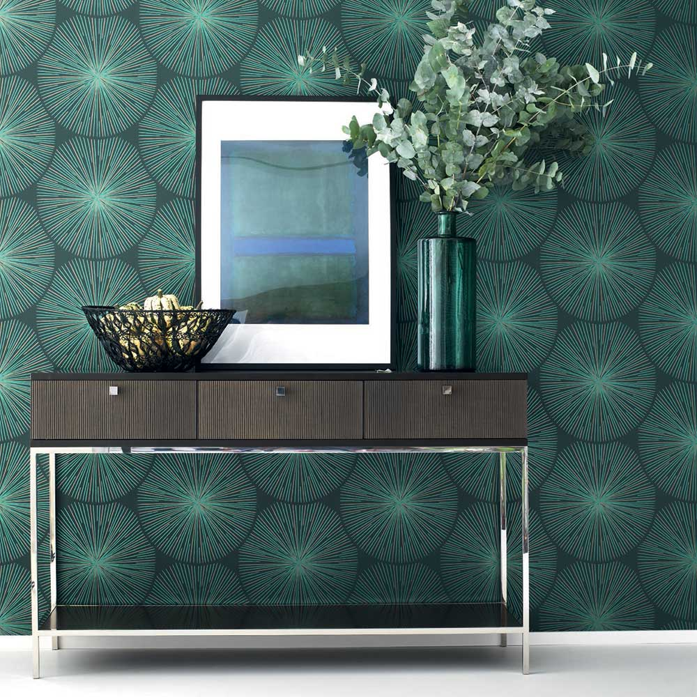 Casadeco Eclat Green and Copper Wallpaper - Product code: 82047118