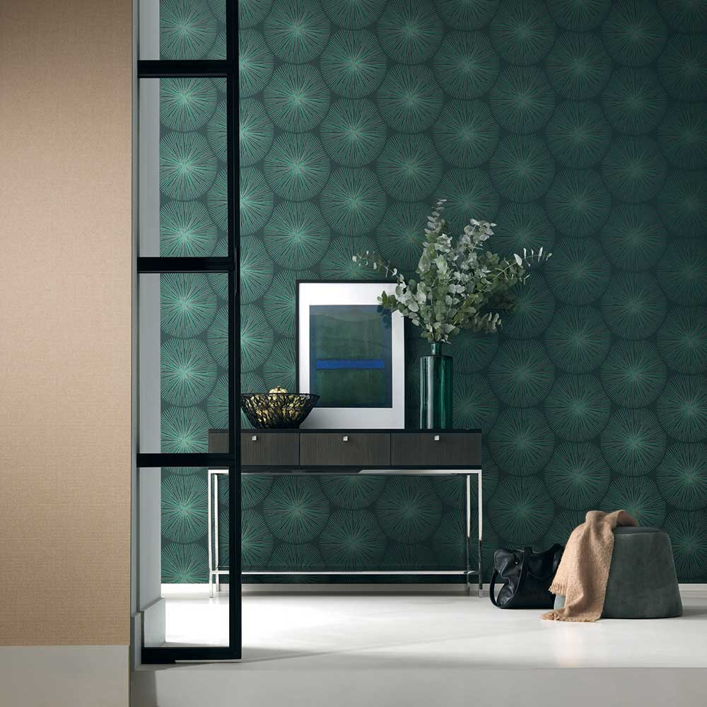 Eclat Wallpaper - Green and Copper - by Casadeco