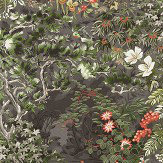 Cole & Son Woodland Coral / Olive / Charcoal Wallpaper
