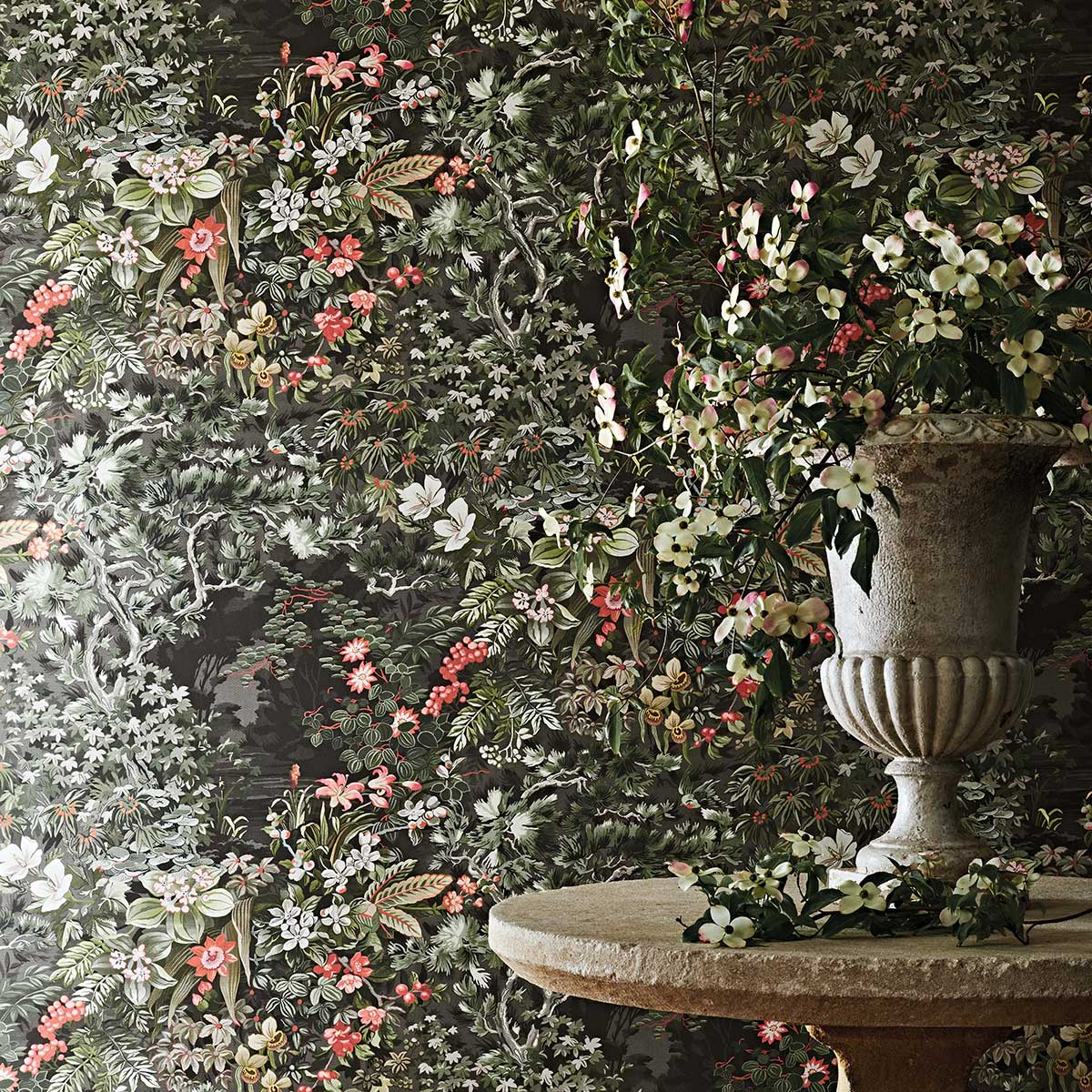 Cole & Son Woodland Coral / Olive / Charcoal Wallpaper - Product code: 115/4011