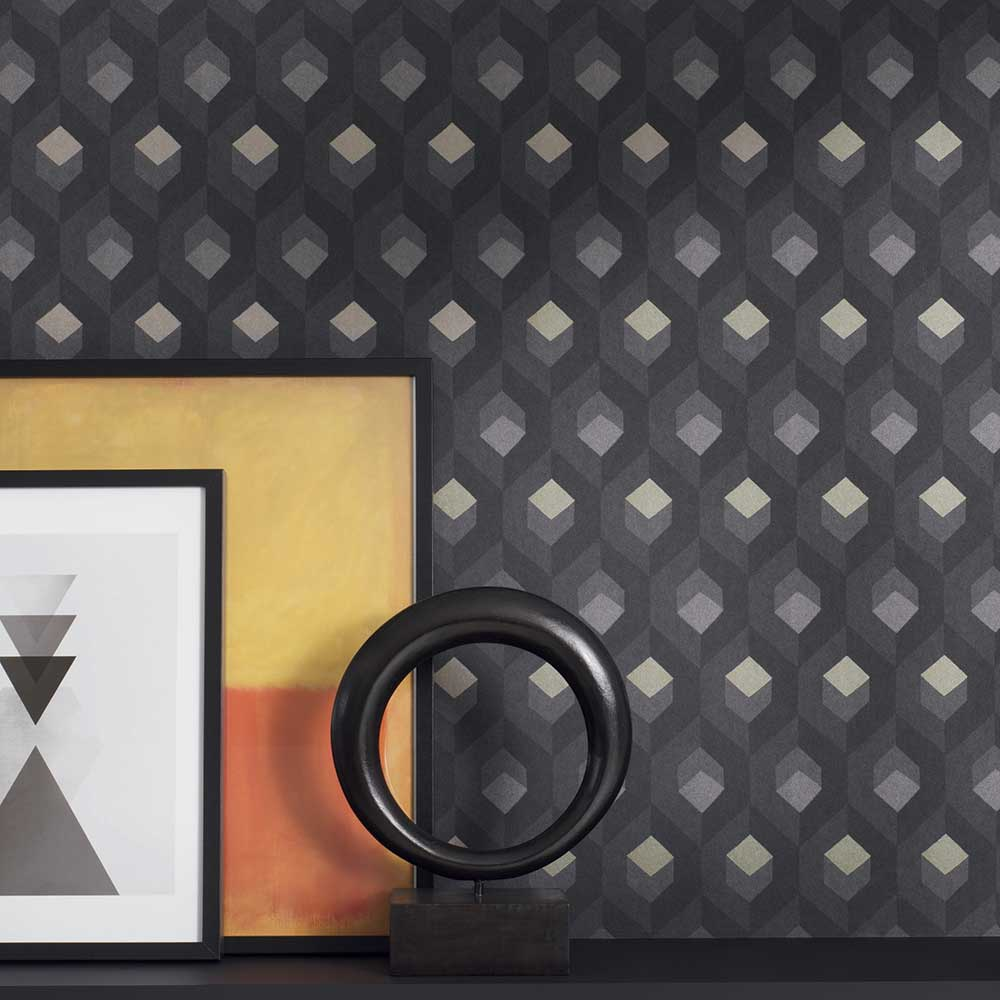 Hexacube Wallpaper - Gold / Silver / Charcoal - by Casadeco