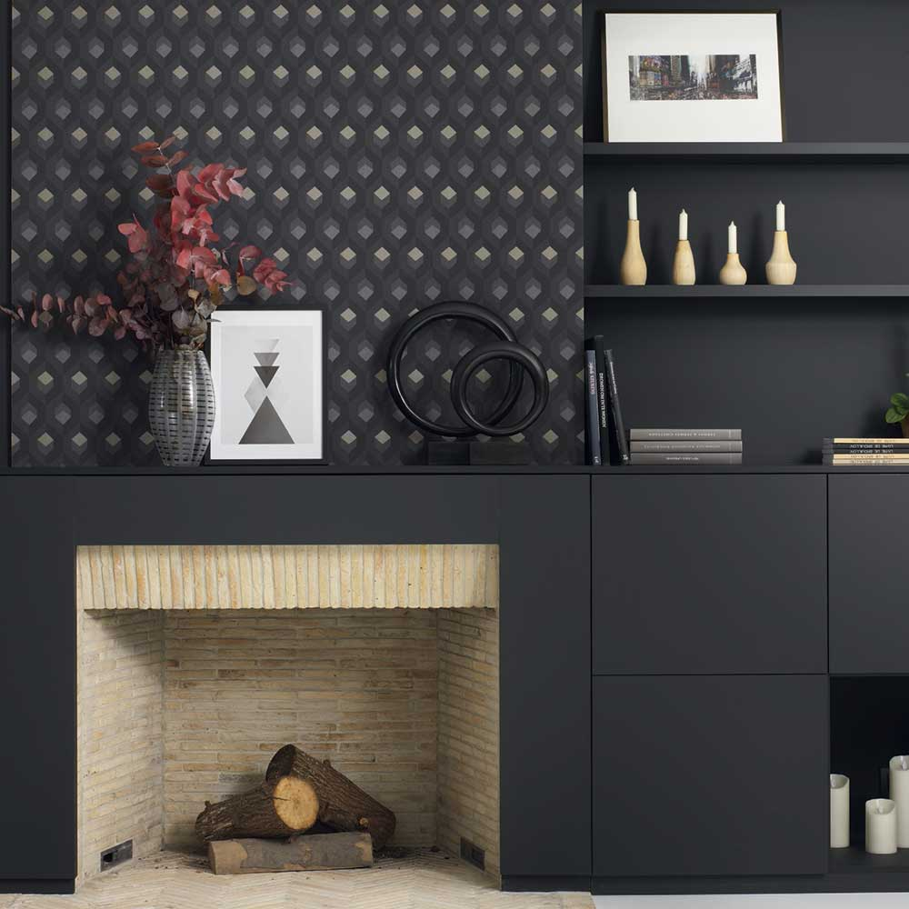 Casadeco Hexacube Gold / Silver / Charcoal Wallpaper - Product code: 82059511