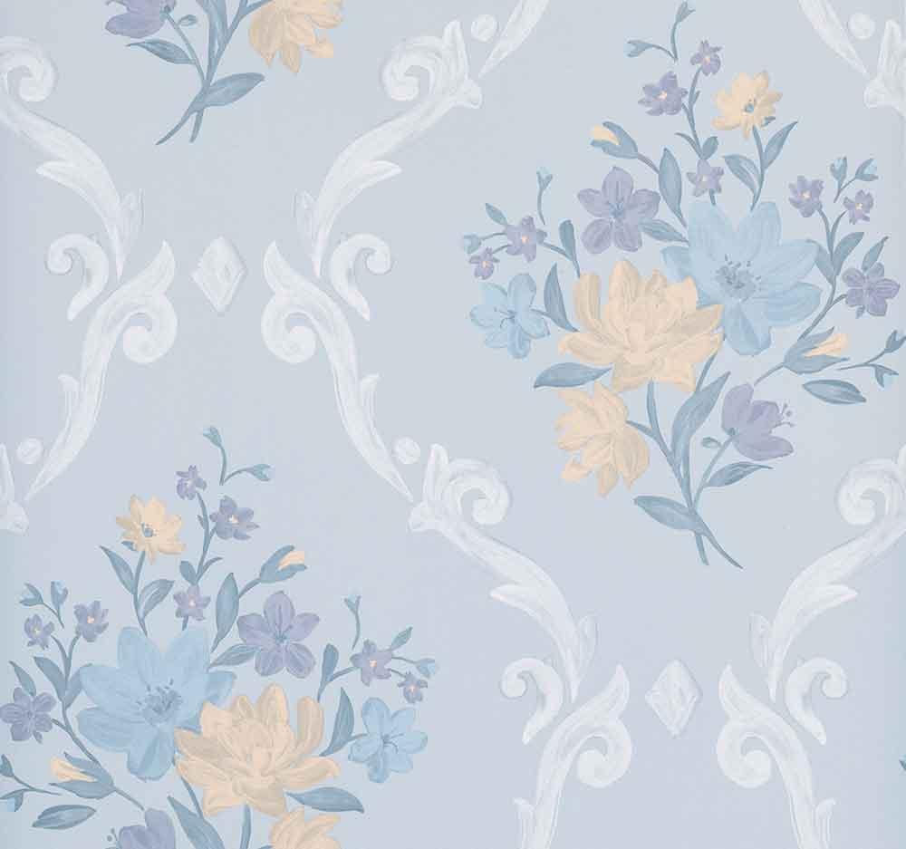 Matthew Williamson Almudaina Stone/ Blue/ Marigold Wallpaper - Product code: W7264-03