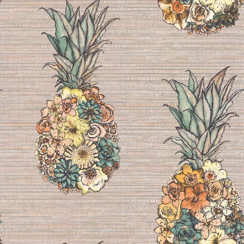 Matthew Williamson Ananas Terracotta/ Lemon/ Grass Wallpaper - Product code: W7266-02