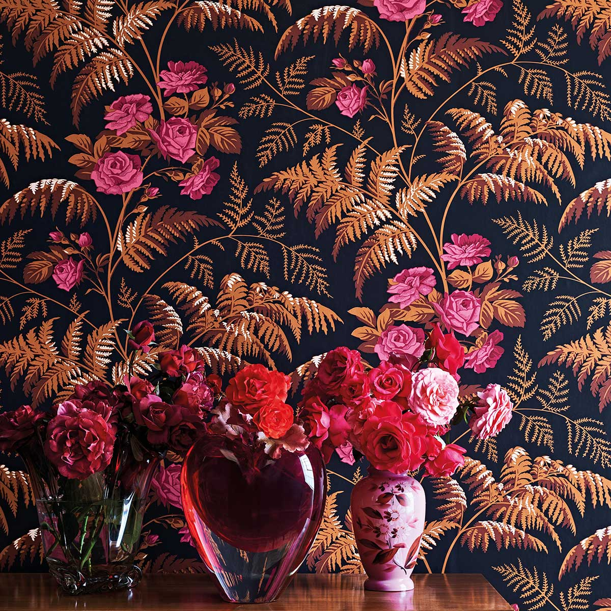 Rose Wallpaper - Cerise / Burnt Orange - by Cole & Son
