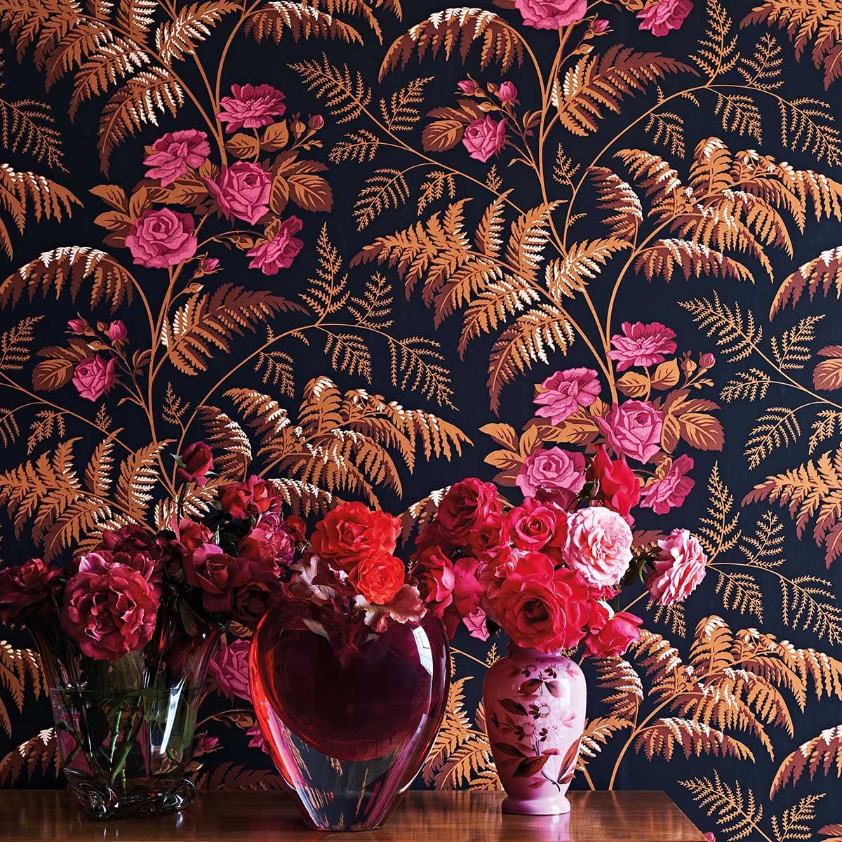 Cole & Son Rose Cerise / Burnt Orange Wallpaper - Product code: 115/10029