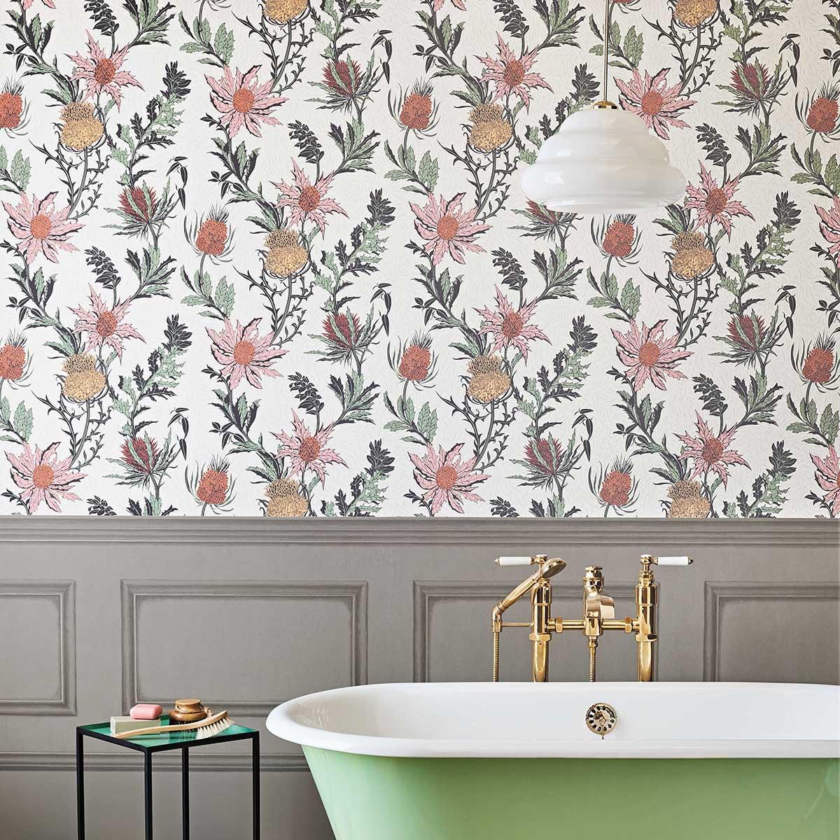 Thistle Wallpaper - Alabaster Pink / Orange - by Cole & Son