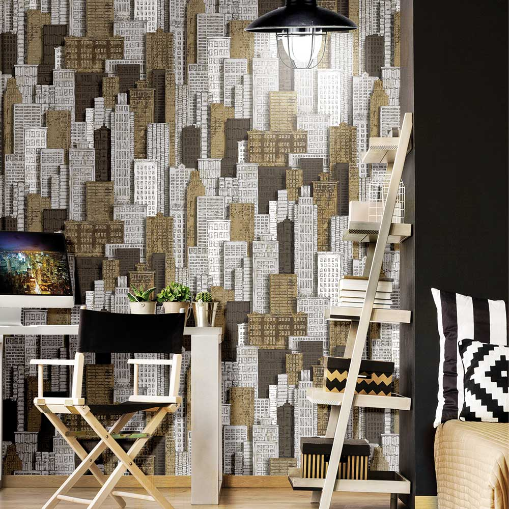 Galerie Cityscape Brown / Gold Wallpaper - Product code: 5608