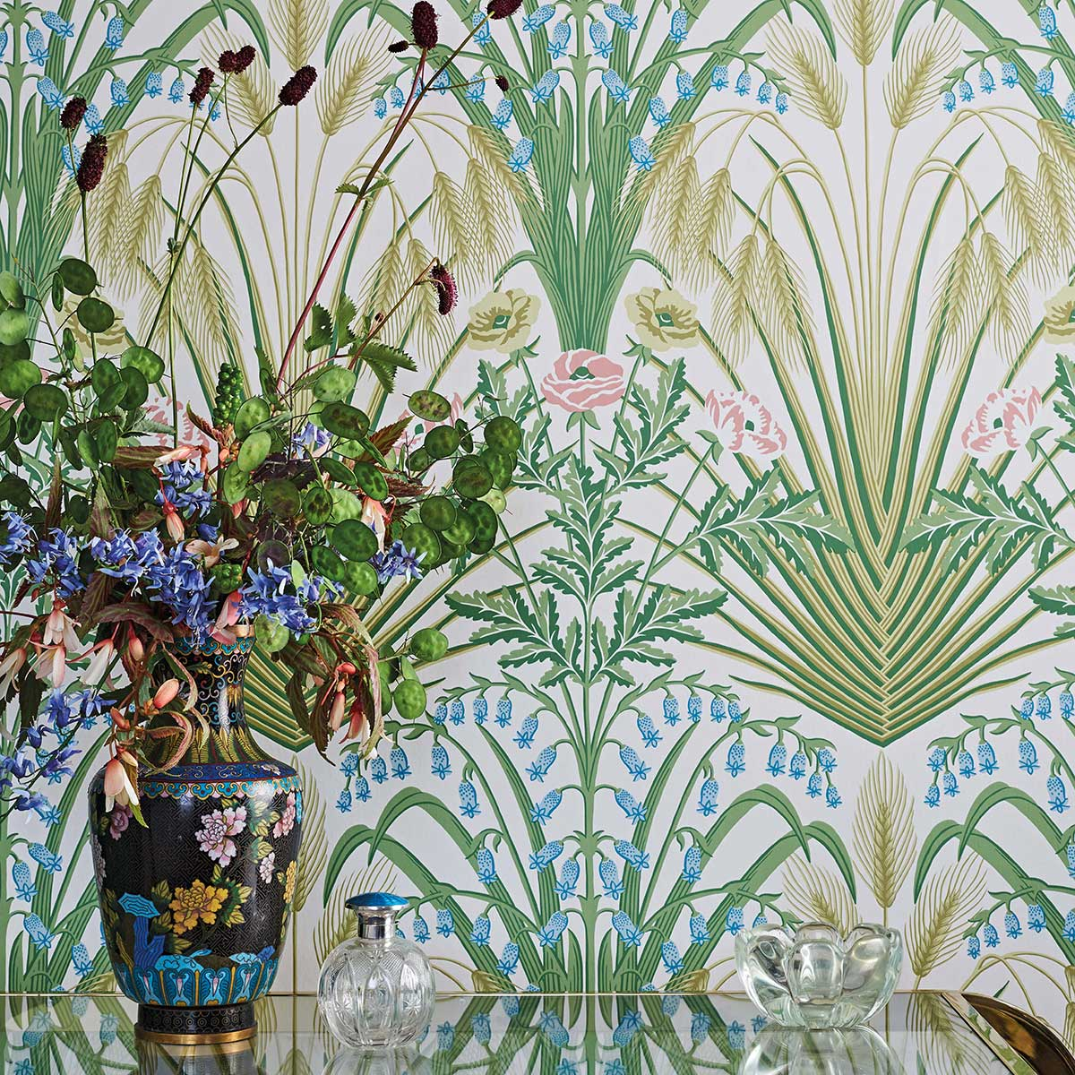 Bluebell Wallpaper - Spring Green / Cerulean Sky - by Cole & Son