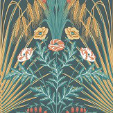 Cole & Son Bluebell Teal / Gold / Coral Wallpaper - Product code: 115/3010